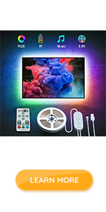 9.8ft tv backlight with remote dimmable flexible usb led strip light for tv monitor indoor music