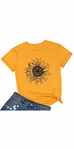 Sunflower Graphic Tee T Shirt for Women Short Sleeve Summer Graphic Casual Shirts Tee Top