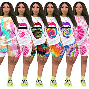 Colorful Tie Dye Casual T-Shirts Joggers Tracksuit Sportswear Sweat Suit Set