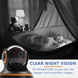Clear high night vision 10 infared LED sharper and smoother images baby monitor children child kiddy