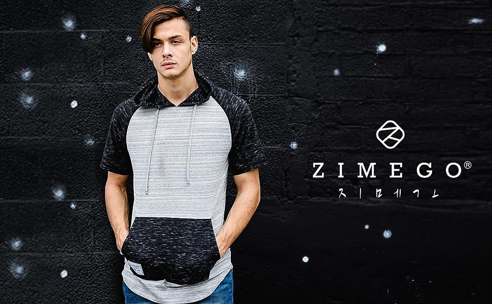 Zimego model wearing short sleeve pocket hoodie
