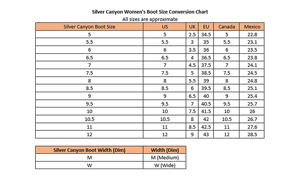 Silver Canyon Women's Boot Size Conversion Chart