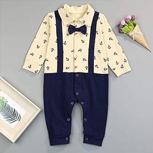KISSB Newborn Baby Boys Romper Infant Boys Gentleman Bow Tie Suit One Piece Button Down Suspender Overalls Outfits