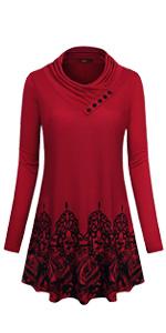 women floral printed flowy cowl neck tunic long sleeve t shirt blouses sweatshirt