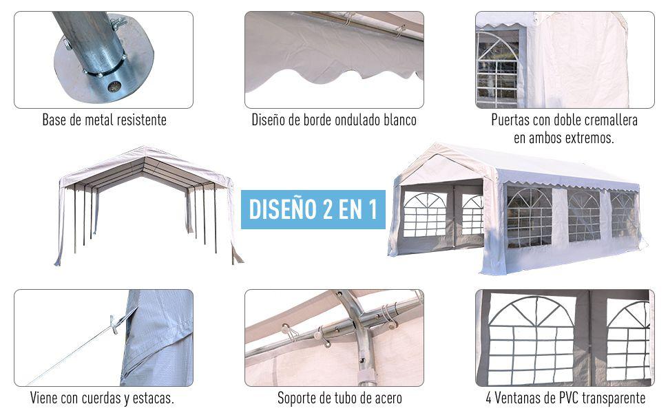 Outsunny Carpa de Jardín Cochera Gazebo 6x4m Pergola Cenador Pabellón 4 Paneles Laterales 6 Ventanas para Fiesta Eventos Bodas Acero PE Blanco: Amazon.es: Jardín