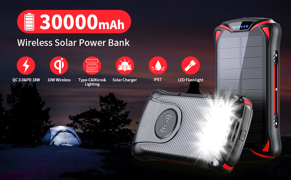 Wireless Portable Charger 10W 30000mAh PD 18W Solar Power Bank QC 3.0 External Battery Pack