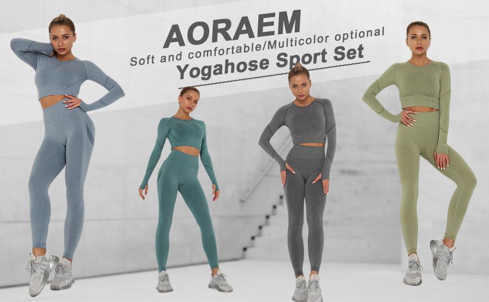AORAEM Damen Workout Set 2 Pieces Sportanz/üge Jogginganzug Sport Sets Trainingshose Lang/ärmlige Crop Top Hohe Taille Bustie Yogahose Sport Set mit Daumenloch