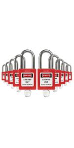 TRADESAFE 10 Pack Red Safety LOTO Padlocks - Keyed Different - 1 Key Per Lock