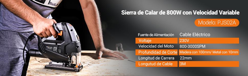 Tacklife Sierra de Calar, Caladora, Cable de 3 Metros, Corte en Madera: 100mm, 800W 3000SPM, Sierra Caladora con LED Láser, 6 Hojas para Madera Metal Plástico, Velocidades Ajustables (1-6) PJS02A: Amazon.es: Bricolaje