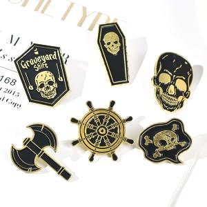 Pirate flag pin,Skeleton skull enamel pin set,Dark Gothic pins