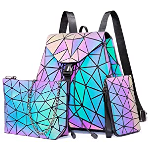 Geometric Luminous Backpack for Women Holographic Reflactive Purses