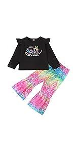 rainbow bell bottom pants set for toddelr girl