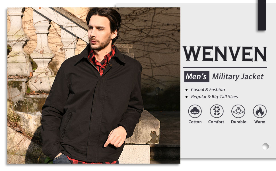 WenVen Mens Casual Cotton Military Jacket