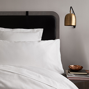 H By Frette White Sheets, Duvet and Shams on in Hotel Context
