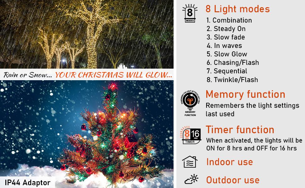 100-2000 LED Fairy String Lights Waterproof for Christmas Tree Garden Outdoor UK