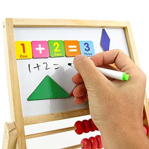 jerryvon Abaque Boulier Puzzles Tableau Magn/étique en Bois Planche /à Dessin Verticale Jouet Educatif Jeu Num/éral y Tangram pour Fille Garcon Enfant 3 Ans 4 Ans 5 Ans