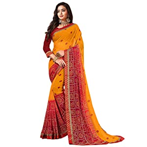 Sanskar Resham Ki Dor Bandhani Printed Georgette Saree (Red & Yellow)