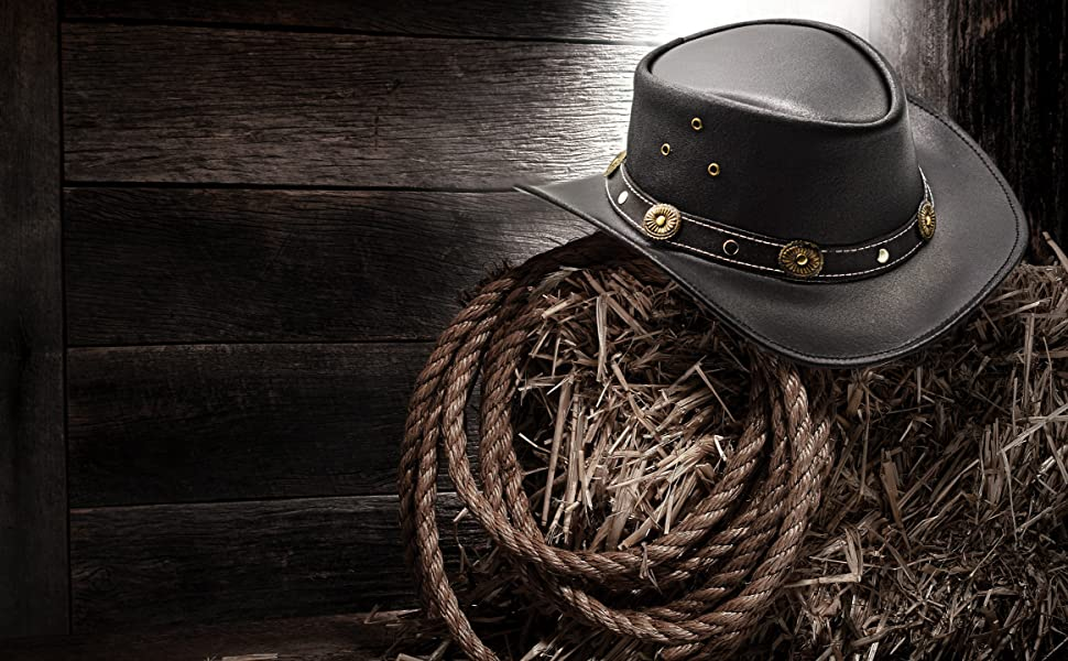 Western Style Outback Leather Cowboy hat for Men and Women