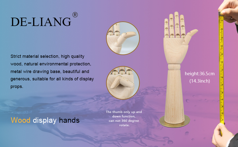 Wood Model Hand Flexible Movable Fingers Manikin Hand Figure for Sketching Home Office Tabletop