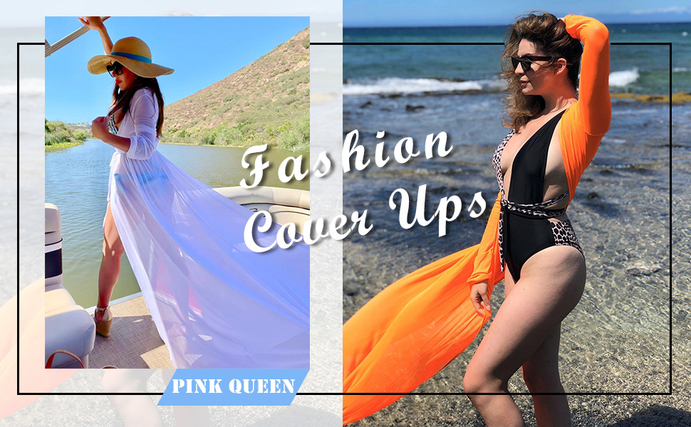 pink queen see through cover up dress