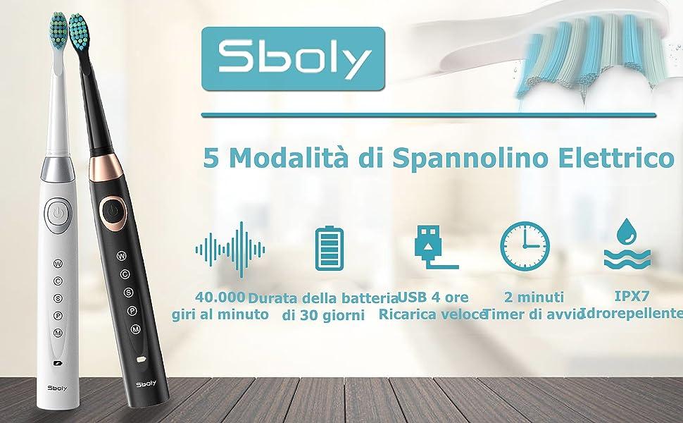 2 Spazzolini elettrici Sonic 5 Modalità 8 Spazzolini Ricarica veloce USB dello Spazzolino che dura 30 giorni,Timer Interno Intelligente Spazzolino Ricaricabile Adulti e Bambini(Bianco e Nero)