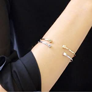 Open Cuff Bracelet - Adjustable Stackable Boho Skinny Wire Dainty Arm Bangles