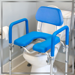 dignity raised toilet seat positioned over standard toilet