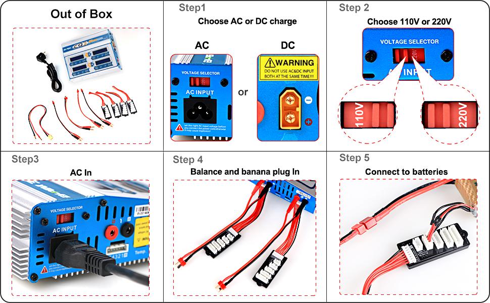 easy to use rc charger for lipo life limh nicd nimh pb with ac power cord t banana plug