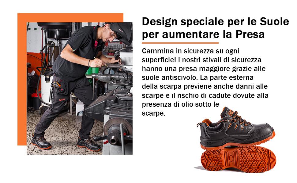 Stivali per Lavori Duri Waterproof Presa Extra Punte in Composito con Suola Protettiva Intermedia
