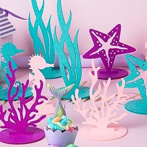 Purple Coral 2Pcs Mermaid Party Decoration DIY Felt Table Centerpiece Under The Sea Baby Shower Little Mermaid Girl Birthday Party Supplies SUNBEAUTY