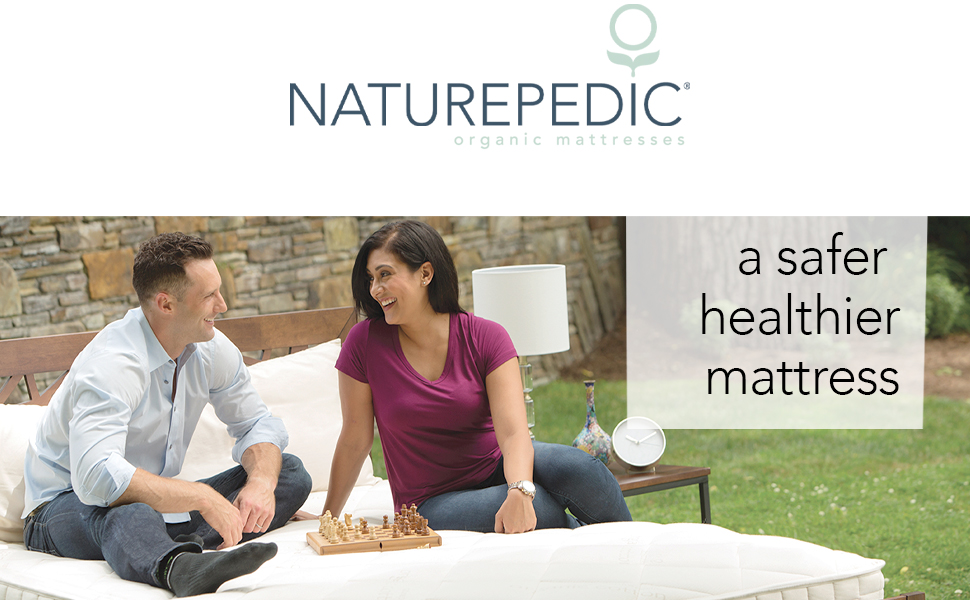 Naturepedic Logo with Couple In Bed - A Safer Healthier Mattress