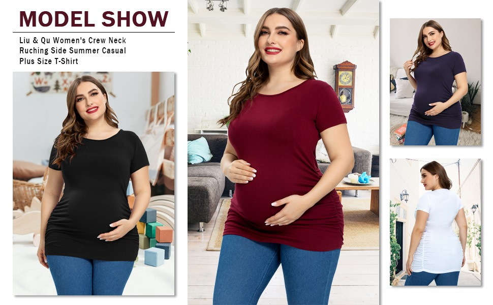 Liu /& Qu Womens Plus Size Maternity Tops Short Sleeve Pregnancy Shirts 1X-3X