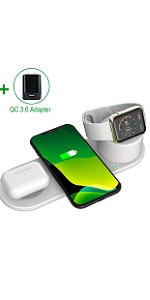 Aresh 3 in 1 Wireless Charging Station White