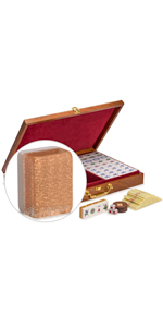 """Professional Chinese Mahjong Set, """"Champagne Gold"""" with Wooden Veneer Case"""