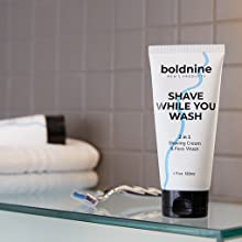 Boldnine hydrating foaming facial cleanser and shaving cream sensitive skin is good for acne