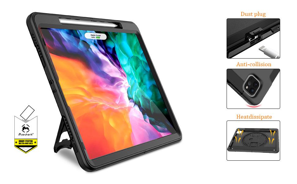 Miesherk Funda iPad Pro 12.9 2020 con Portal/ápices,Estable Soporte Funda para iPad Pro 12.9 2020 4a Generaci/ón con Correa para Mano,iPad Pro 12.9 2020//2018 Funda Protector con Correa para el Hombro