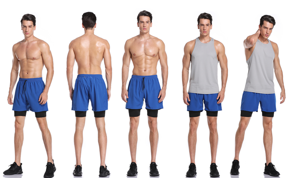 men's 2-in-1 2in1 2 in 1 active fitness exercise jogging casual training running gym sport shorts