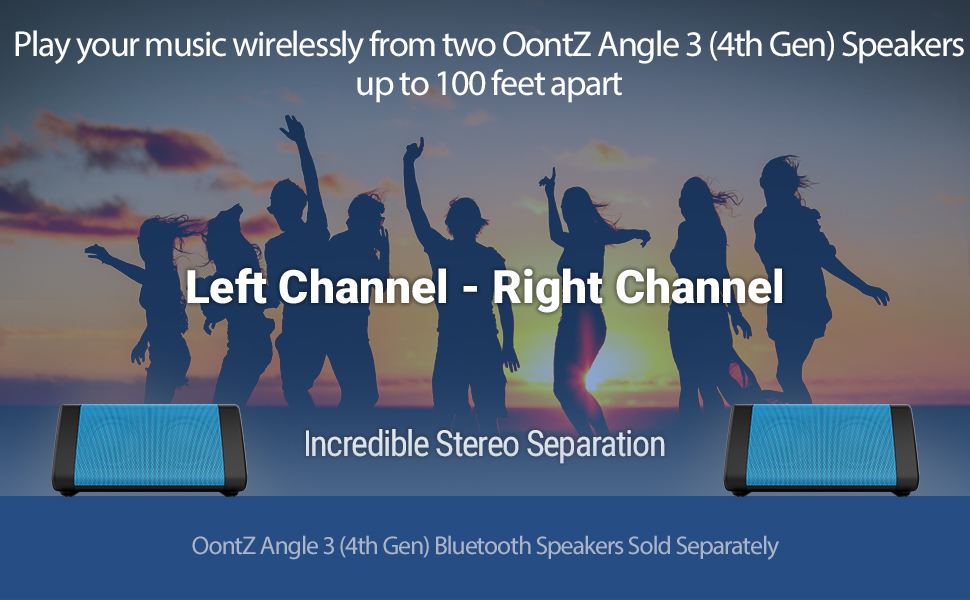 OontZ Angle 3 Portable Bluetooth Speaker Blue left channel right channel dual speaker stereo sound