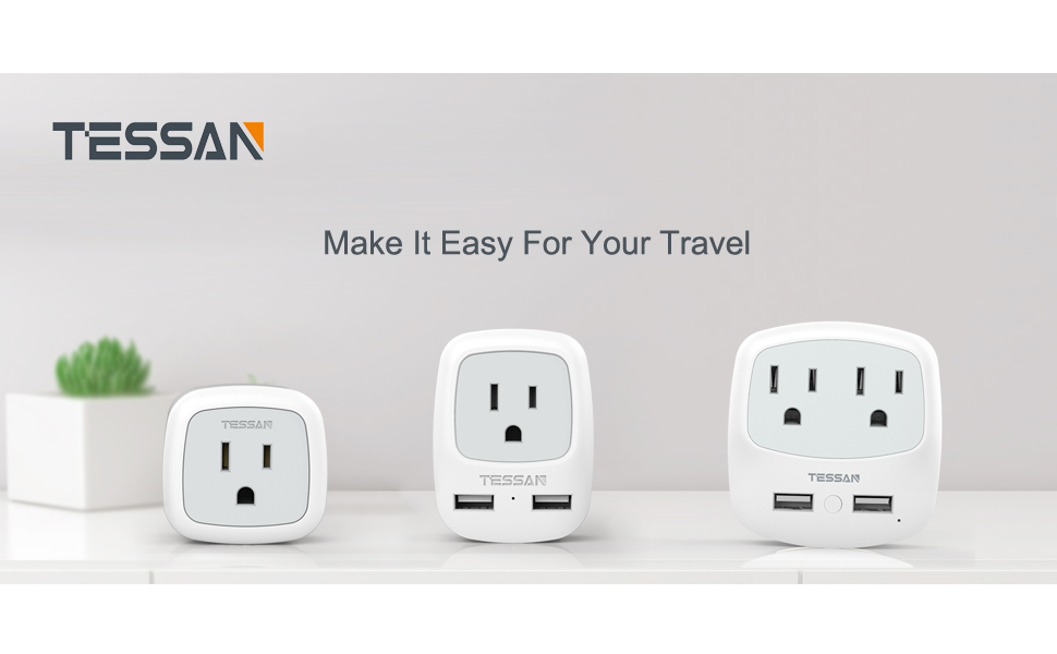 Italy Travel Plug Adapter 2 Pack, TESSAN Grounded International Power  Outlet Adaptor with 2 USB Ports for USA to Chile Uruguay Italian (Type L)