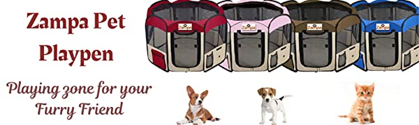 Zampa Foldable Pet Playpen for Dogs/Cats Portable, Exercise Kennel Pink
