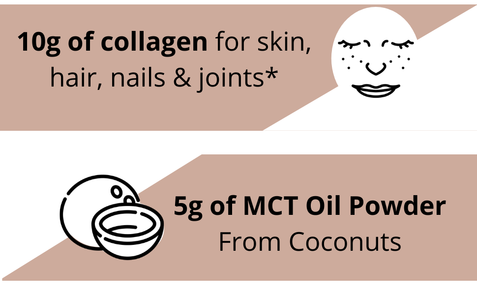 10g of collagen for skin, hair and nails and 5g of MCT Powder