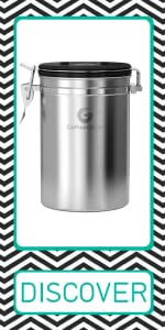 Coffee Gator canister coffee storage beans grounds whole co2 release valve large silver
