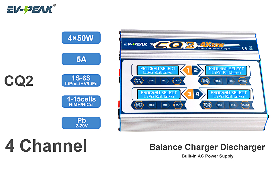 4 port rc battery charger 50w 4 port channel 1-6s 1-15cells pb charger