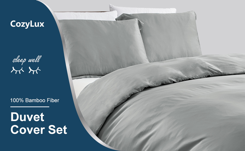 CozyLux Bamboo Duvet Cover Cooling Soft Bed Duvet Cover Set