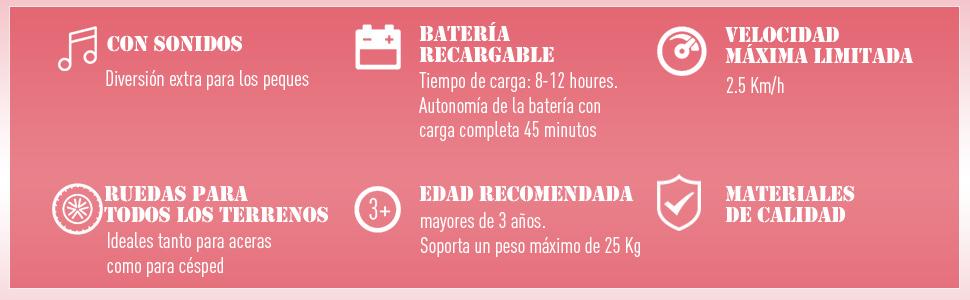 Moto Electrica Infantil Bateria 6V Recargable Niños 5 Años Cargador y Ruedas Apoyo Color Rojo