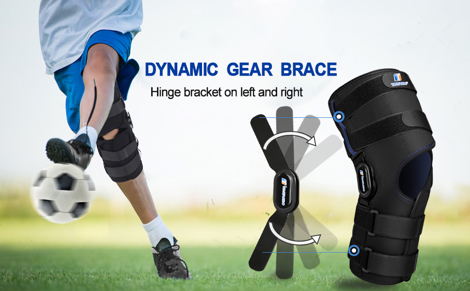 Hinged knee brace for both left and right