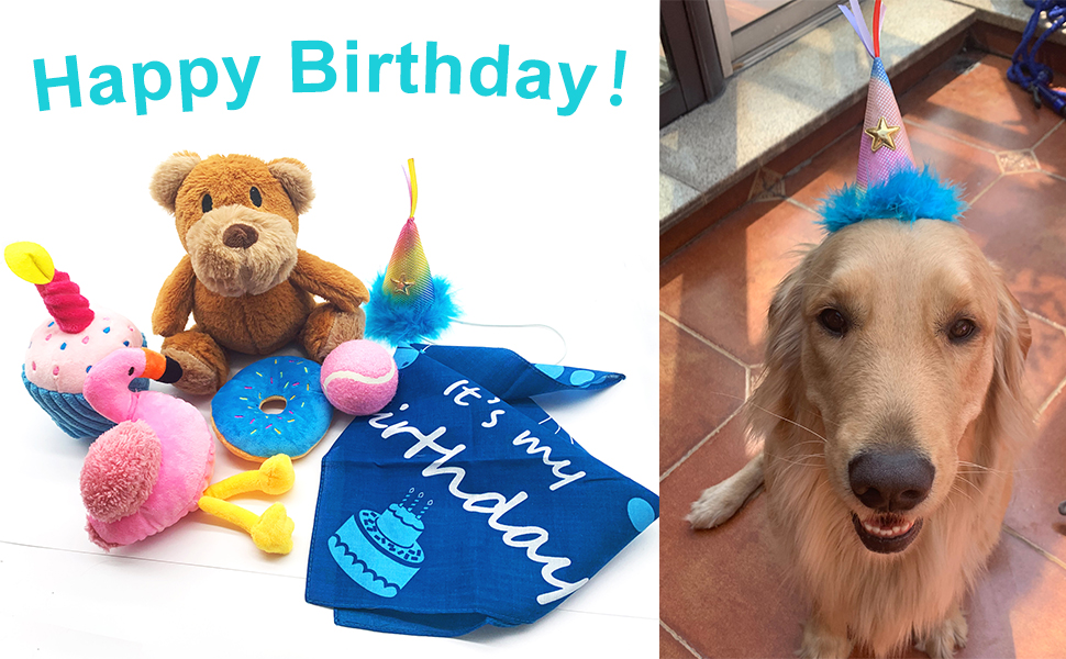 Jalousie Dog Squeaky Toys Dog Birthday Gift Set with Doggie Birthday Party Hat and Bandana Scarf Dog Plush Toys Dog Squeaky Toys Dog Chew Toys