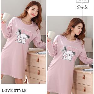 Women Cute Cartoon Pattern Nightgown Sleepwear