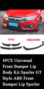 4PCS Universal Front Bumper Lip Body Kit Spoiler GT Style ABS Front Bumper Lip Spoiler Wing Body