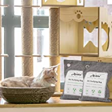 Airbin Bamboo Charcoal Air Purifying Bags 4 Pack, Natural Air Freshener Odor Absorber for Home Pets